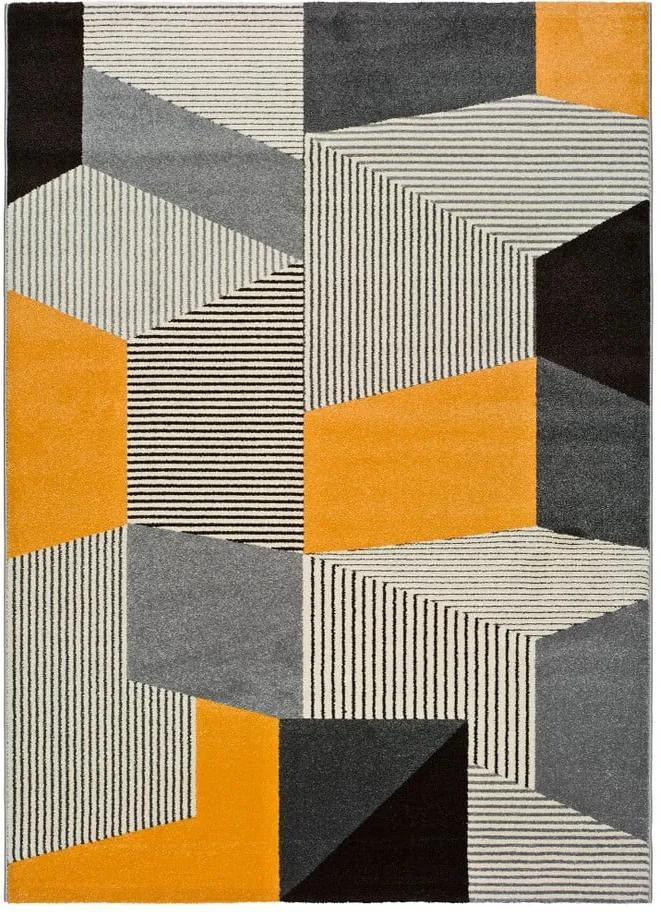 Covor Universal Leo Grey, 80 x 150 cm, gri-portocaliu