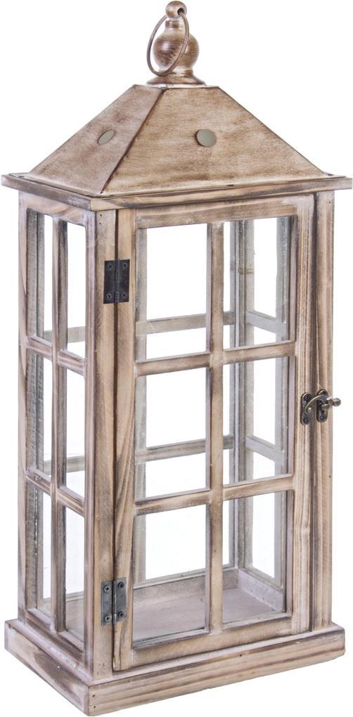 Felinar lemn metal sticla patinat Romance 23x16x55h