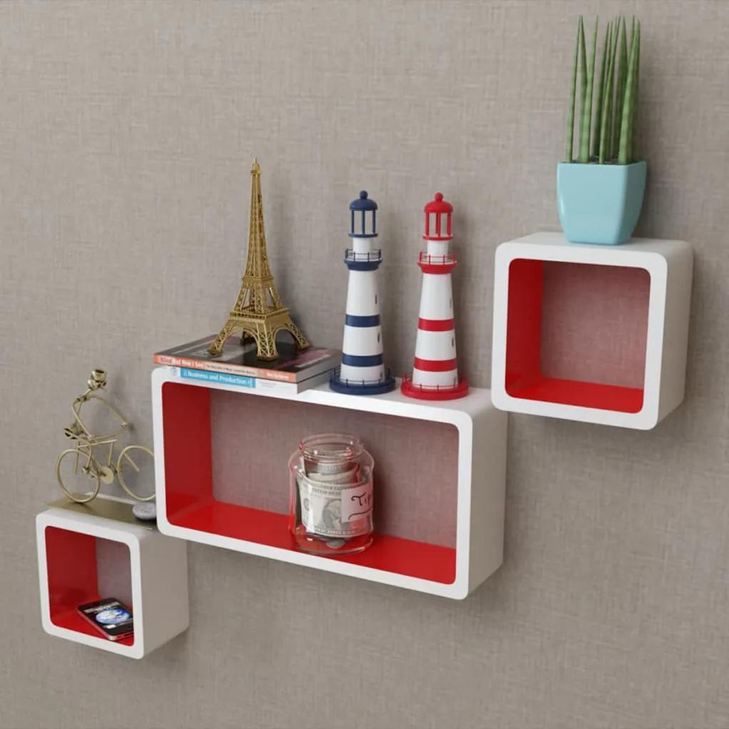 242165 vidaXL 3 Rafturi de tip cub din MDF pentru cărți/DVD-uri, alb-roșu