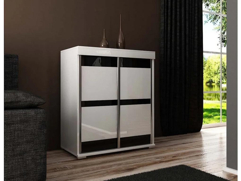 Expedo Comodă MADRID 5, 80x94x45, alb/sticlă neagră