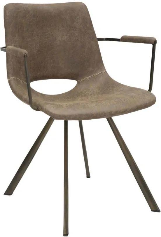 Scaun dining  cu manere metalice Texas, 78x56x59 cm, placaj/ textil/ metal, maro