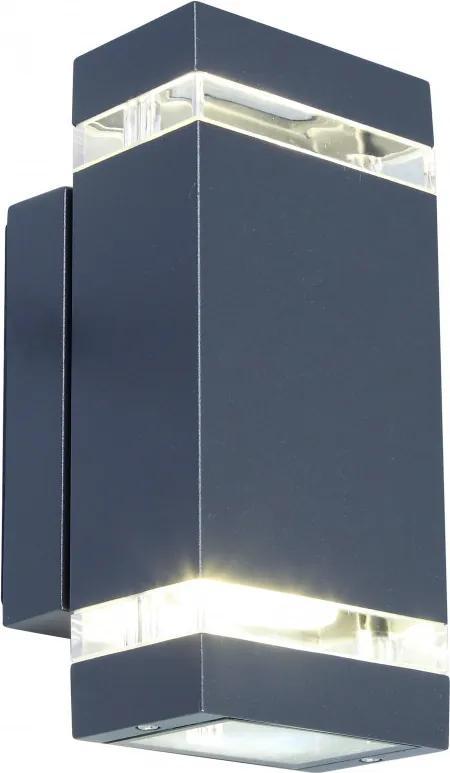 Lutec FOCUS 5605013118 Aplice pentru iluminat exterior gri închis transparent Lextar 3030 11 x 10,9 x 23,5 cm