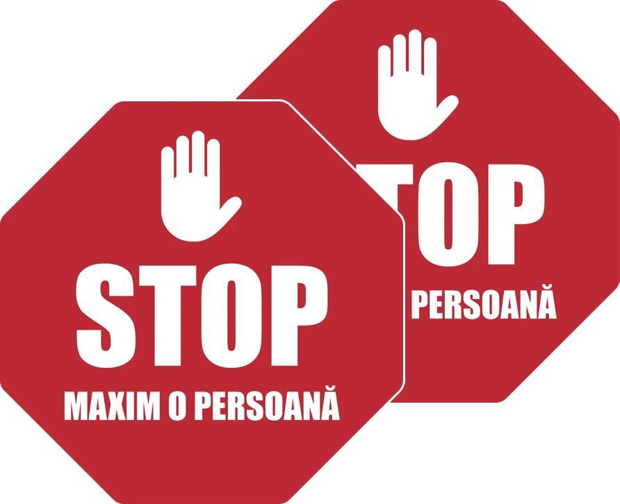 Pachet 2 x Sticker Indicator, STOP Maxim o persoana, roșu și alb, 23,5×23,5 cm