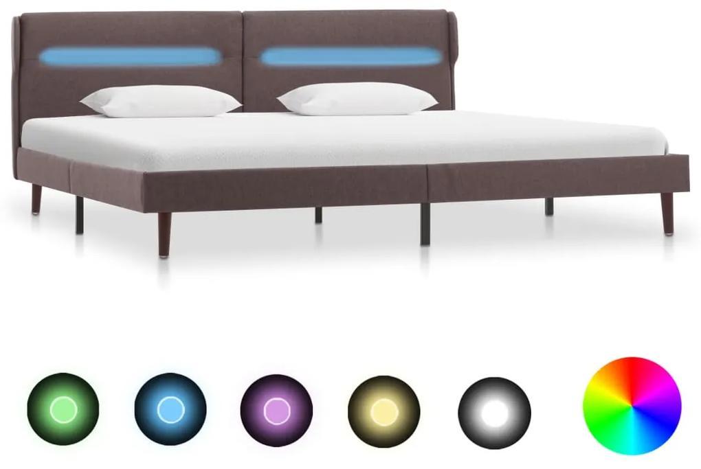 286910 vidaXL Cadru pat cu LED-uri, gri taupe, 140 x 200 cm, material textil