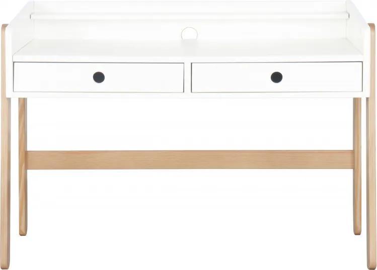 Birou copii din MDF/pin alb cu 2 sertare, 110x55x75 cm