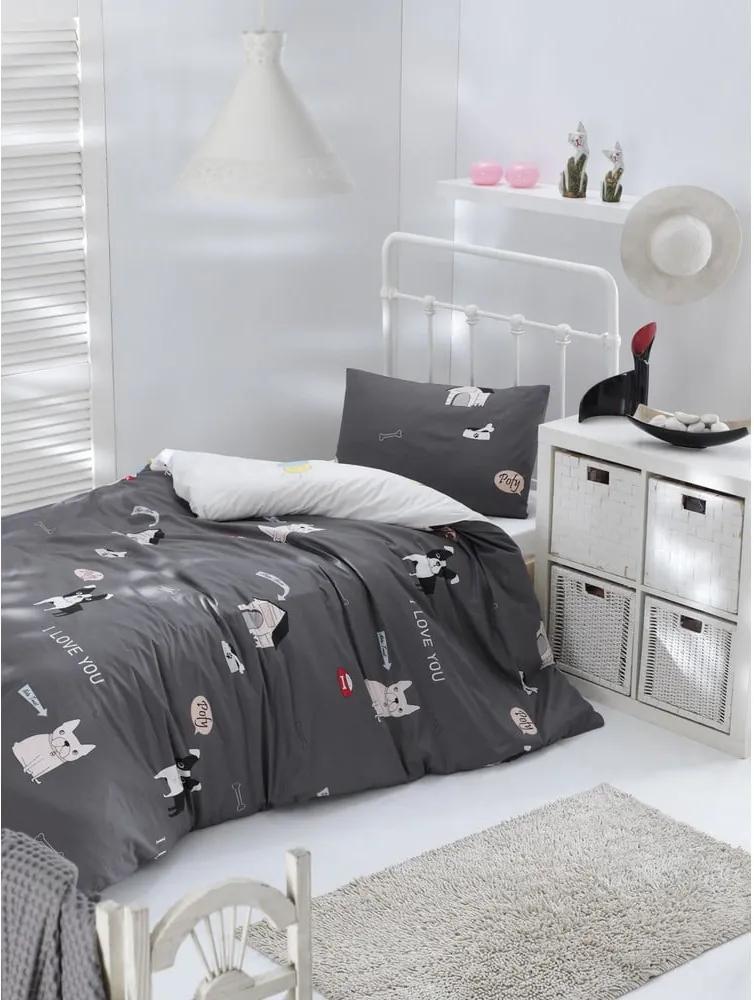 Lenjerie de pat din bumbac ranforce pentru pat de 1 persoană Mijolnir Papcik Anthracite, 140 x 200 cm