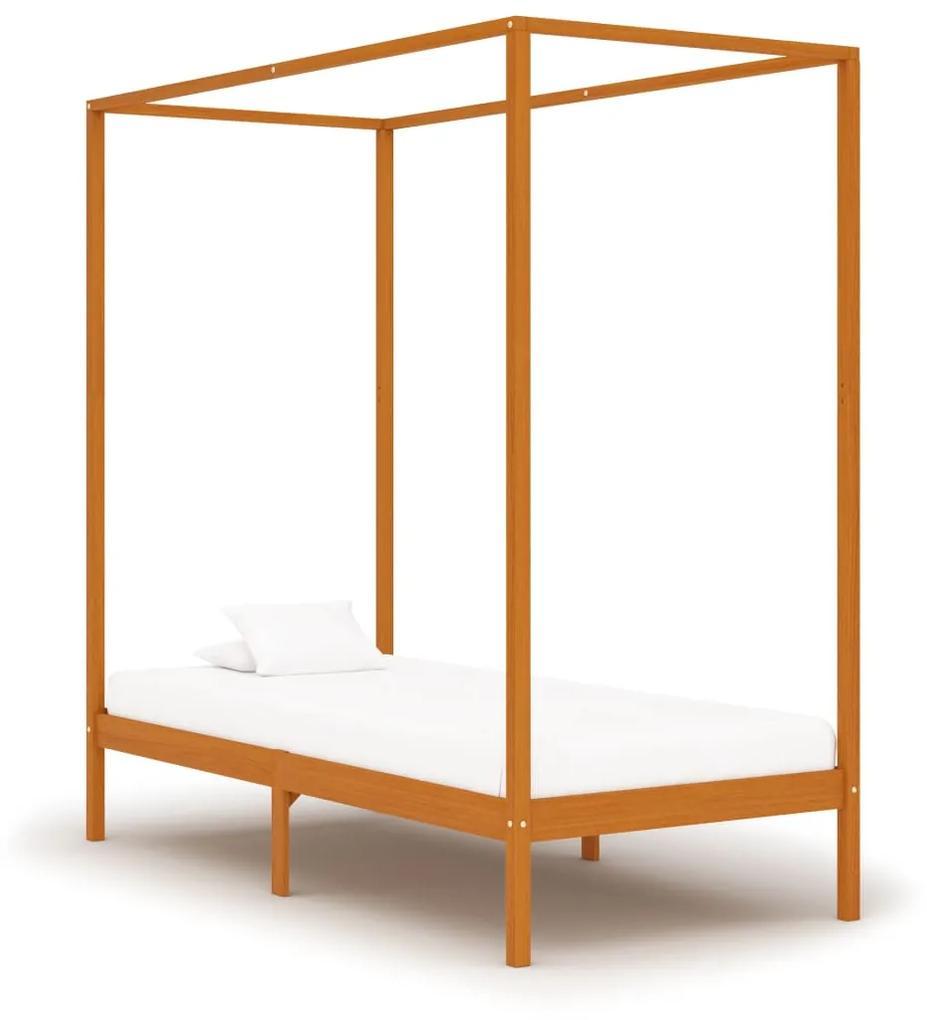 283257 vidaXL Cadru pat cu baldachin, maro miere, 100x200cm, lemn masiv pin