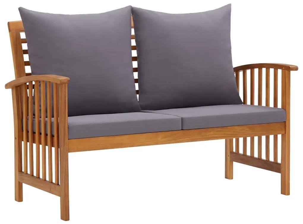310261 vidaXL Bancă de grădină cu perne, 119 cm, lemn masiv de acacia