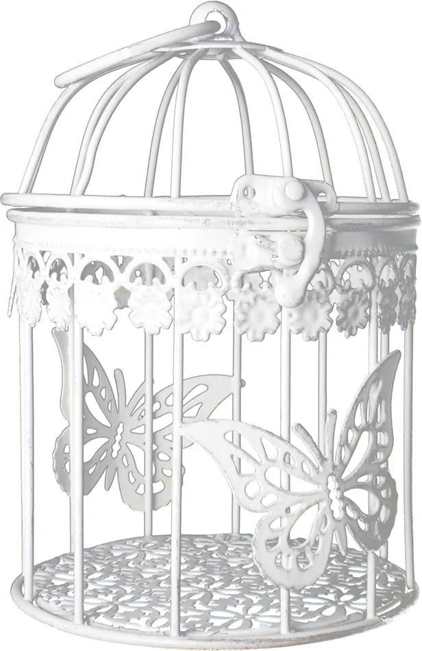 Colivie suspendabila metal alb decor fluture 10 cm x 15 cm