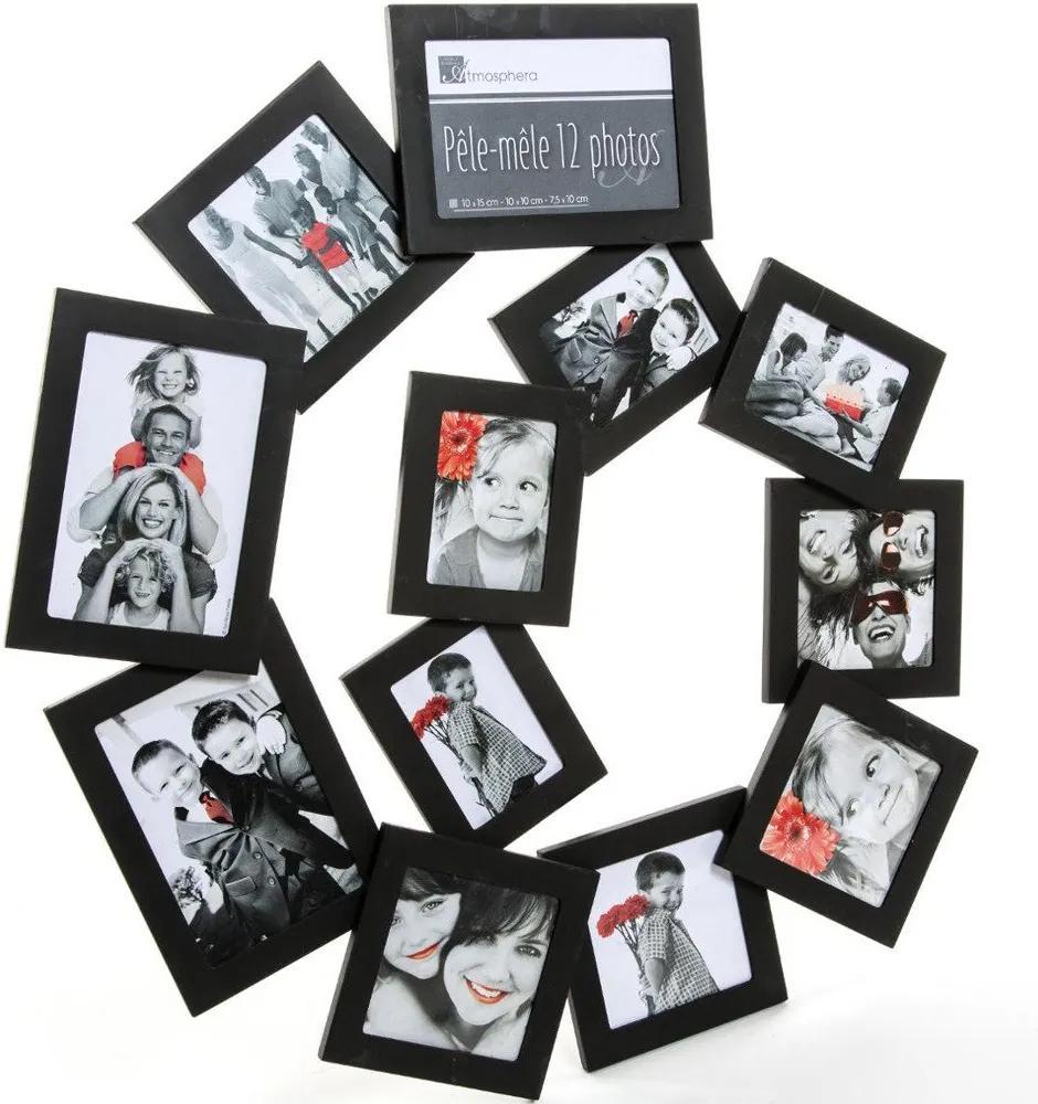 Rama foto clasica, Emako, 12 poze, 60 x 58 cm, Lemn, Negru