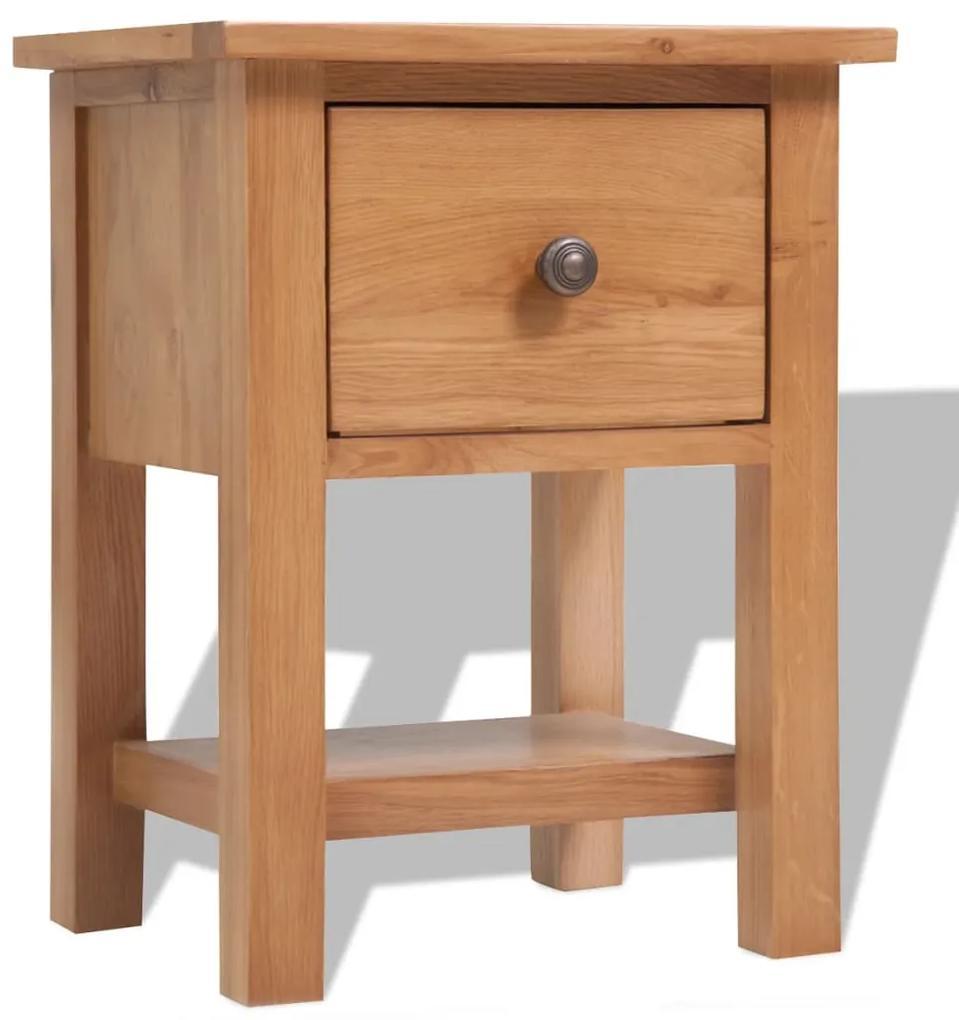 243930 vidaXL Noptieră, 36 x 30 x 47 cm, lemn masiv de stejar