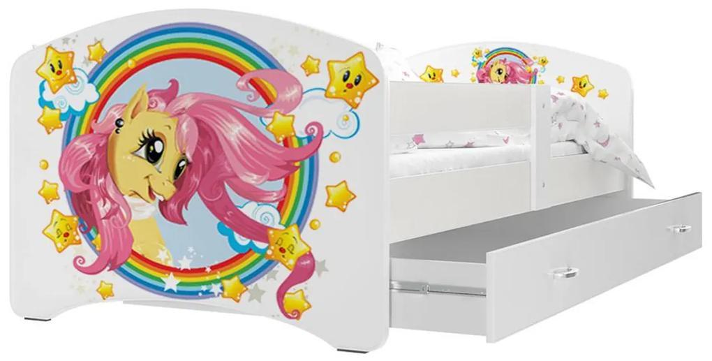 Expedo Pat pentru copii cu imprimeu LUCIE P1 + saltea + somieră GRATIS, 160x80, alb/MODEL 08