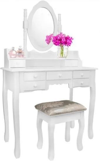 Masa de toaleta/machiaj, alba, cu oglinda si taburet, Vintage, 90 cm