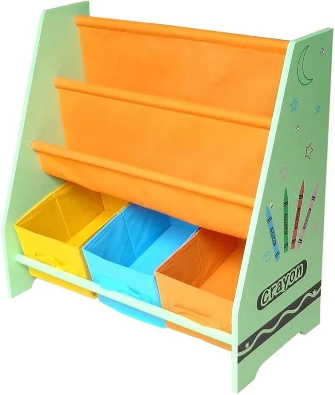 Style - Organizator carti si jucarii cu cadru din lemn Green Crayon