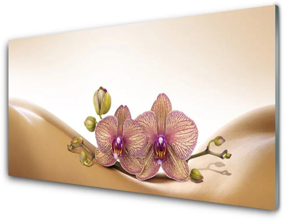 Tablou pe sticla acrilica Copaci Floral Brown roz