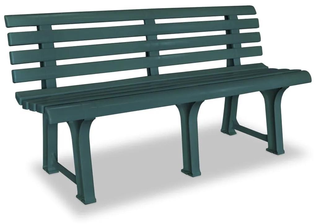 43584 vidaXL Bancă de grădină, verde, 145,5 cm, plastic