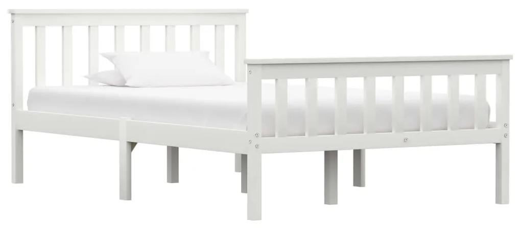 283216 vidaXL Cadru de pat, alb, 120 x 200 cm, lemn masiv de pin