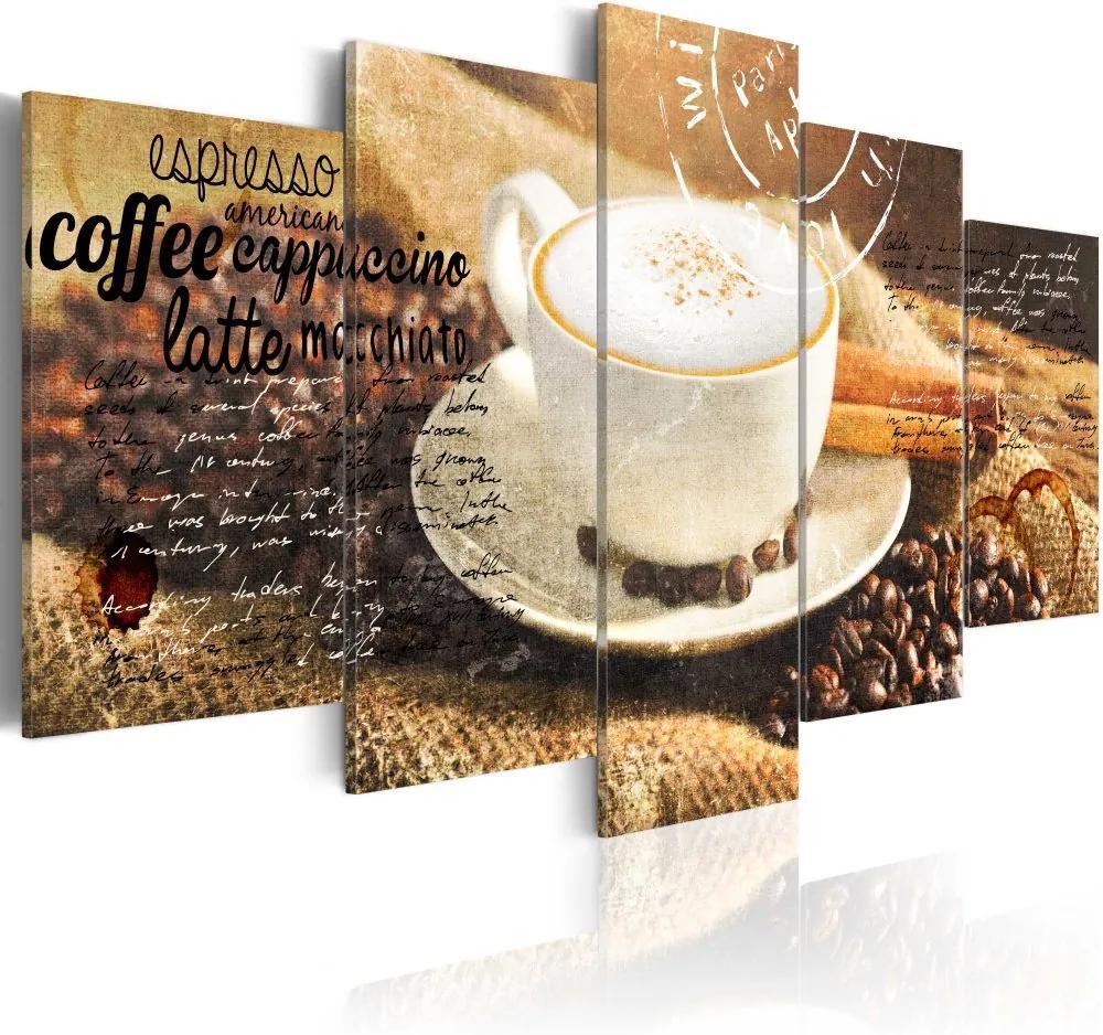Tablou - Coffe, Espresso, Cappuccino, Latte machiato ... 100x50 cm