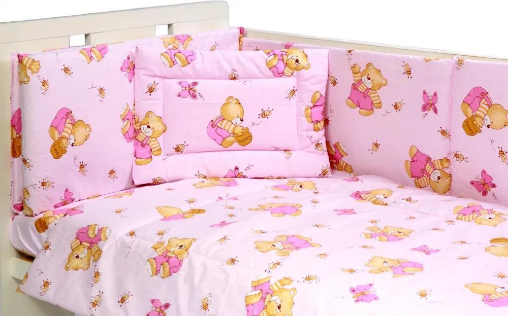 Lenjerie patut cu 4 piese Honey Bear Pink