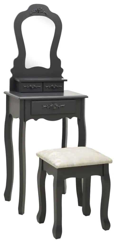 289313 vidaXL Set masă de toaletă cu taburet gri 50x59x136 cm lemn paulownia