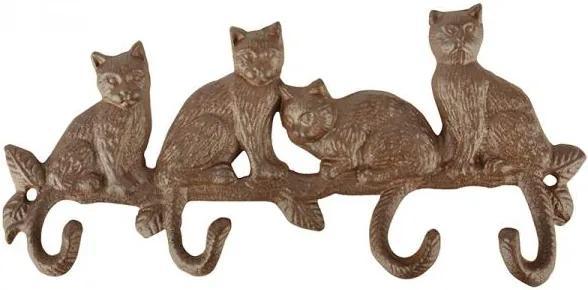 Cuier fonta cu 4 agatatoare, model pisici, latime 29 cm