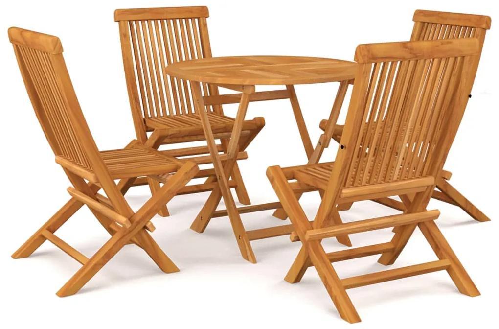 3059579 vidaXL Set mobilier grădină, 5 piese, lemn masiv de tec