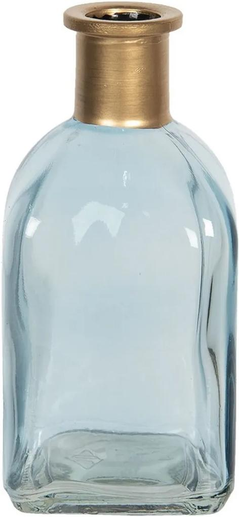 Vaza pentru flori din sticla albastra aurie 6 cm x 6 cm x 13 h