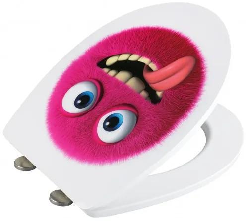 Capac toaleta din duroplast, Monster Magenta, l38,8xA45 cm