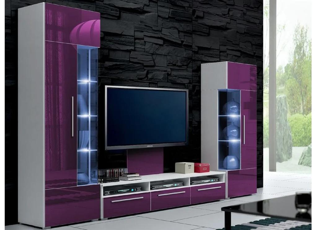 Expedo Mobilă sufragerie LUGANO II, alb/violet luciu