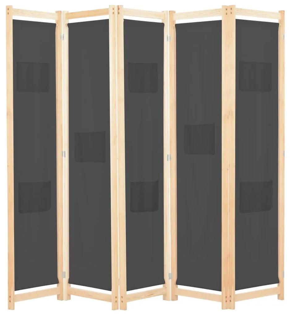 248177 vidaXL Paravan cameră, 5 panouri, gri, 200x170x4 cm, material textil