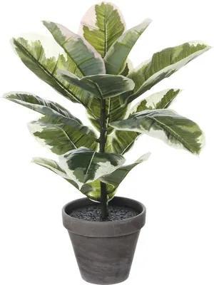 Planta artificiala, arbore de cauciuc in ghiveci, verde