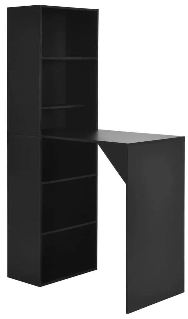 280228 vidaXL Masă de bar cu dulap, negru, 115 x 59 x 200 cm