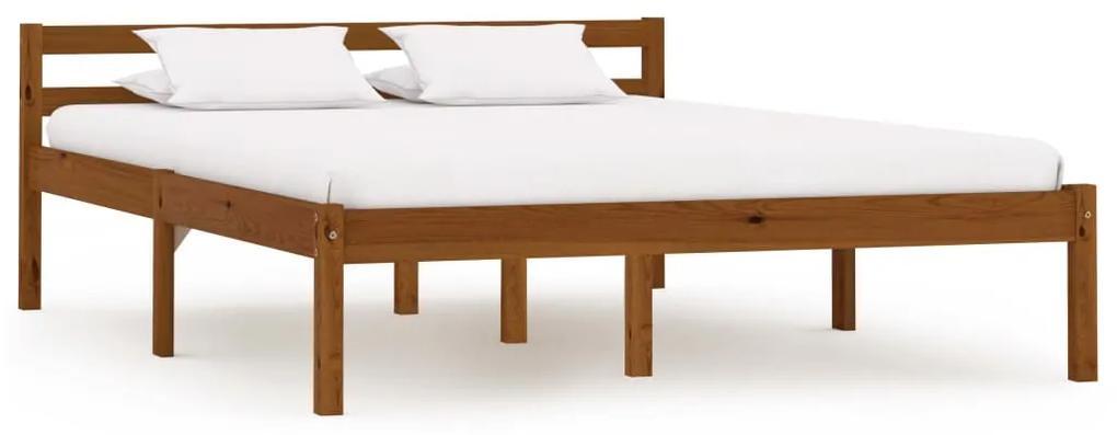 283210 vidaXL Cadru de pat, maro miere, 120 x 200 cm, lemn masiv de pin