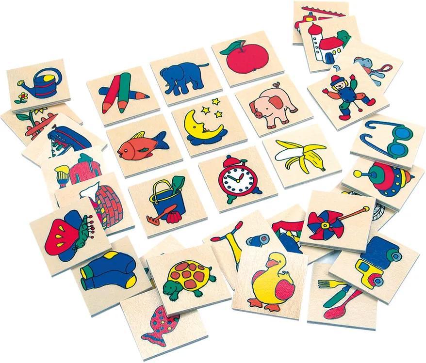 Bino Cartonașe din lemn cu imagini pentru  grădinițe, 32 buc