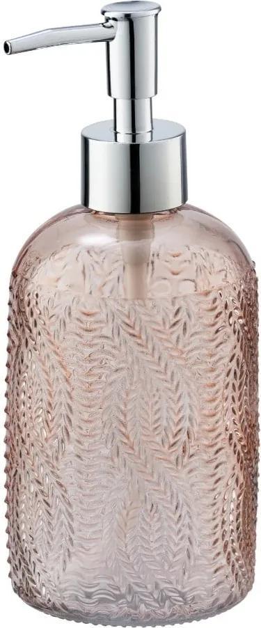 Dozator din sticlă pentru săpun Wenko Vetro, roz
