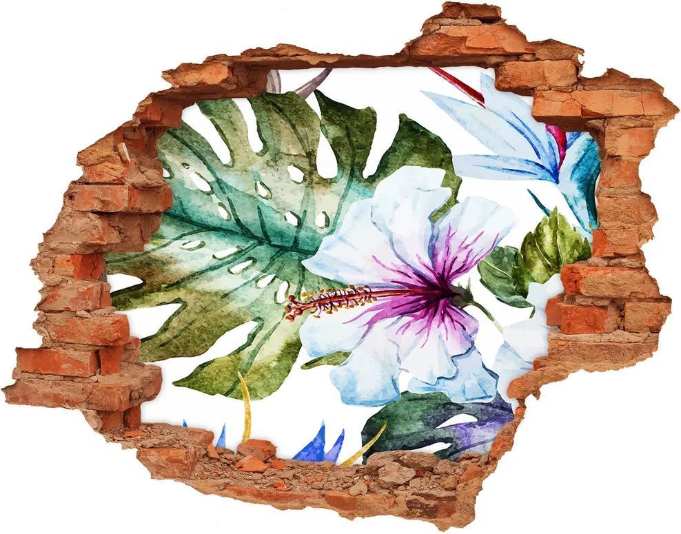 Fototapet 3D gaură în perete Flori Hawaii