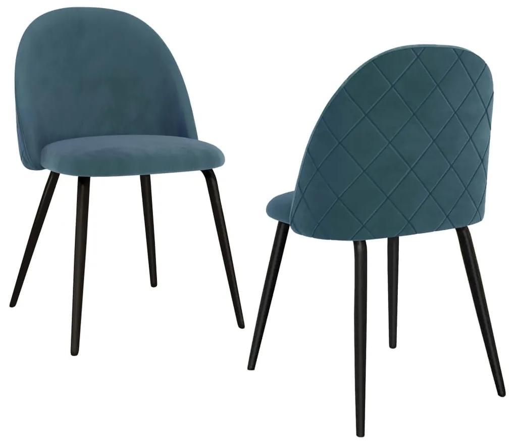 288617 vidaXL Scaune de bucătărie, 2 buc., albastru, material textil