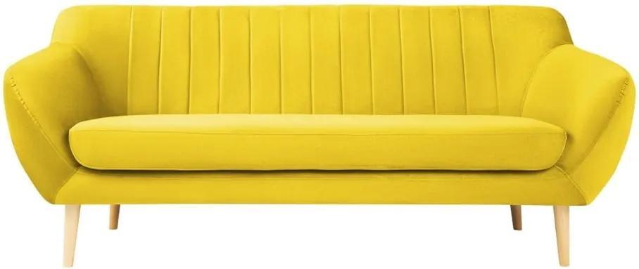 Canapea cu tapițerie din catifea Mazzini Sofas Sardaigne, 188 cm, galben