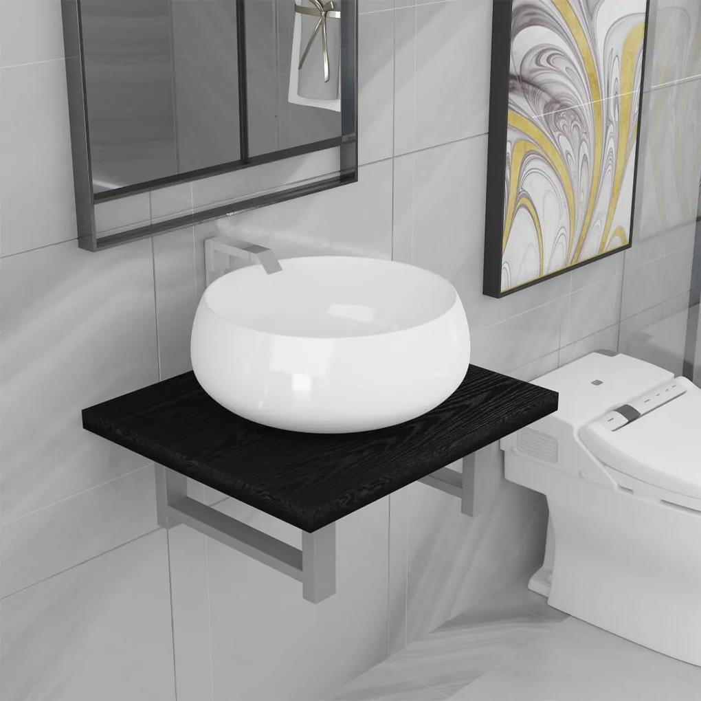 279320 vidaXL Set mobilier de baie, 2 piese, negru, ceramică