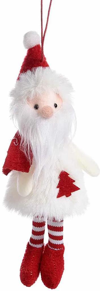 Ornament brad Mos Craciun alb rosu cm 7 x 20 H