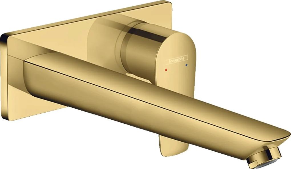 Baterie lavoar Hansgrohe Talis E cu pipa 225 mm, montaj incastrat, necesita corp ingropat, gold optic lustruit