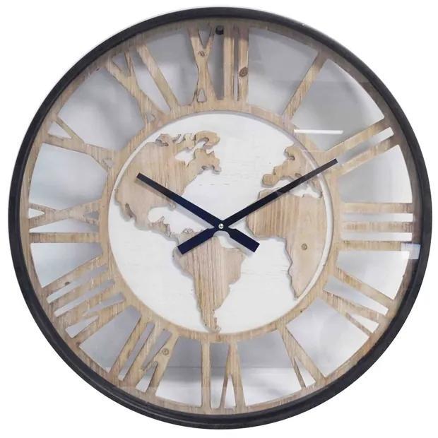 Ceas de perete din lemn Harta Lumii 60 cm