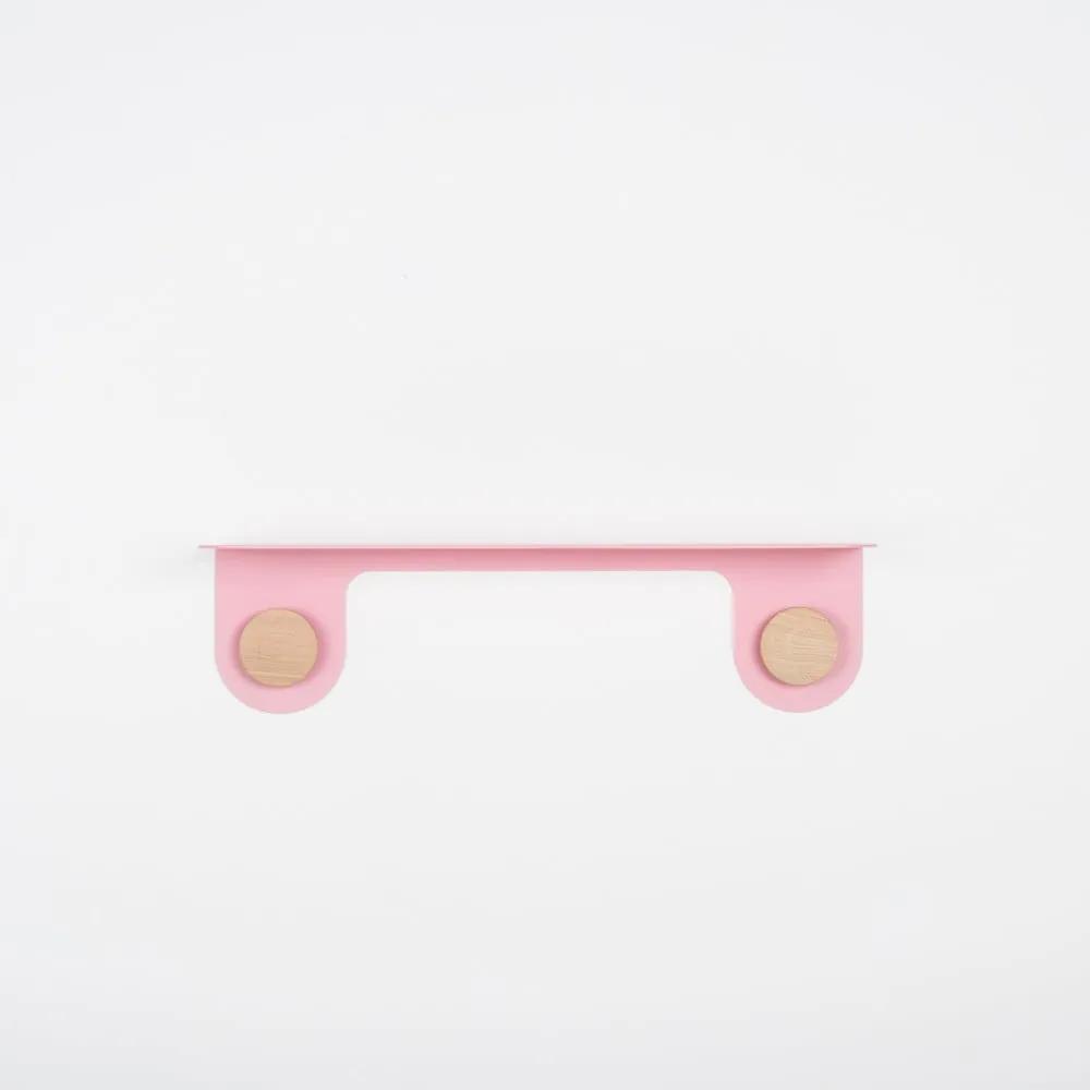 Raft de perete din lemn masiv de stejar cu 2 cârlige Gazzda Hook, 50 cm L, roz