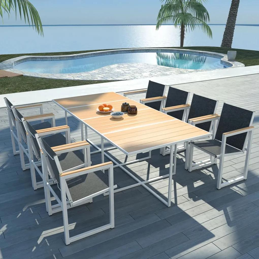 42809 vidaXL Set mobilier de exterior, 9 piese, cu blat din WPC și aluminiu