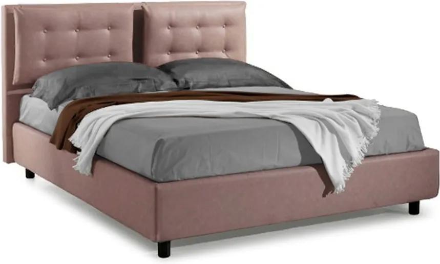 Pat Dormitor Matrimonial Bed&Sofa Bologna iSomn 160x200 cm, fara lada de depozitare, stofa, roz inchis