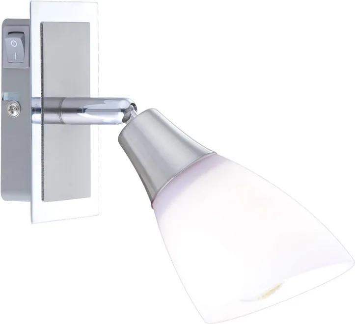 Globo FRANK FRANK 5450-1 Aplice perete cu intrerupator crom nichel mat 1 x E14 max. 40w 19,5 x 6,5 x 18 cm
