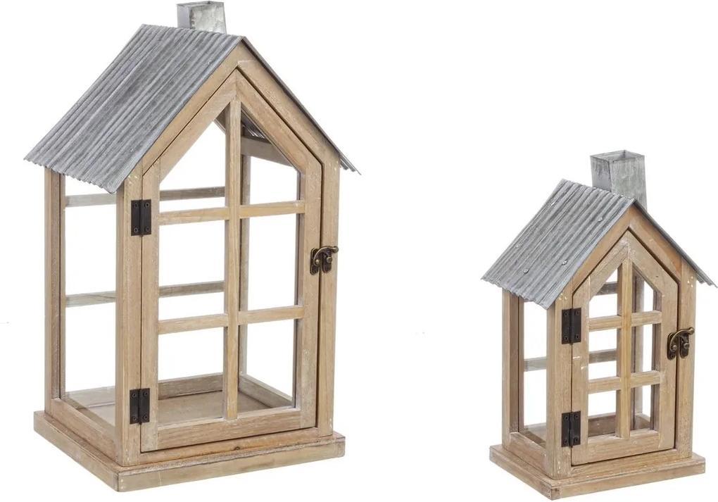 Set 2 felinare lemn maro metal gri sticla Bruges 20 cm x 15 cm x 29 h; 28 cm x 23 cm x 43 h