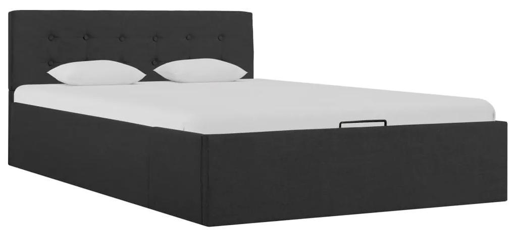 285572 vidaXL Cadru pat hidraulic cu ladă, gri închis, 120 x 200 cm, textil