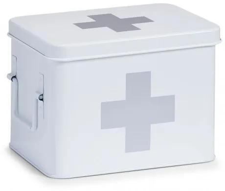 Cutie pentru depozitarea medicamentelor, 4 compartimente, Metal White, l21,5xA16xH16 cm