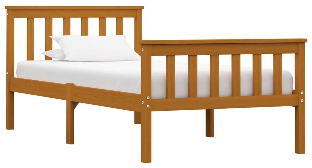 283238 vidaXL Cadru de pat, maro miere, 90 x 200 cm, lemn masiv de pin